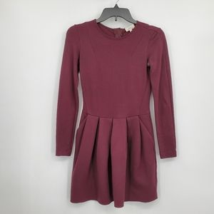 Wilfred skater dress size 0 career fitted maroon